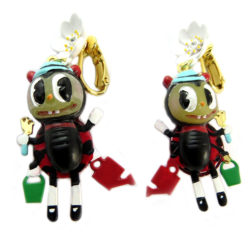 Boucles d\'oreilles clips artisanales \'Monde Merveilleux\' (Potager du Bonheur) rouge doré - 50x25 mm - [P2044]