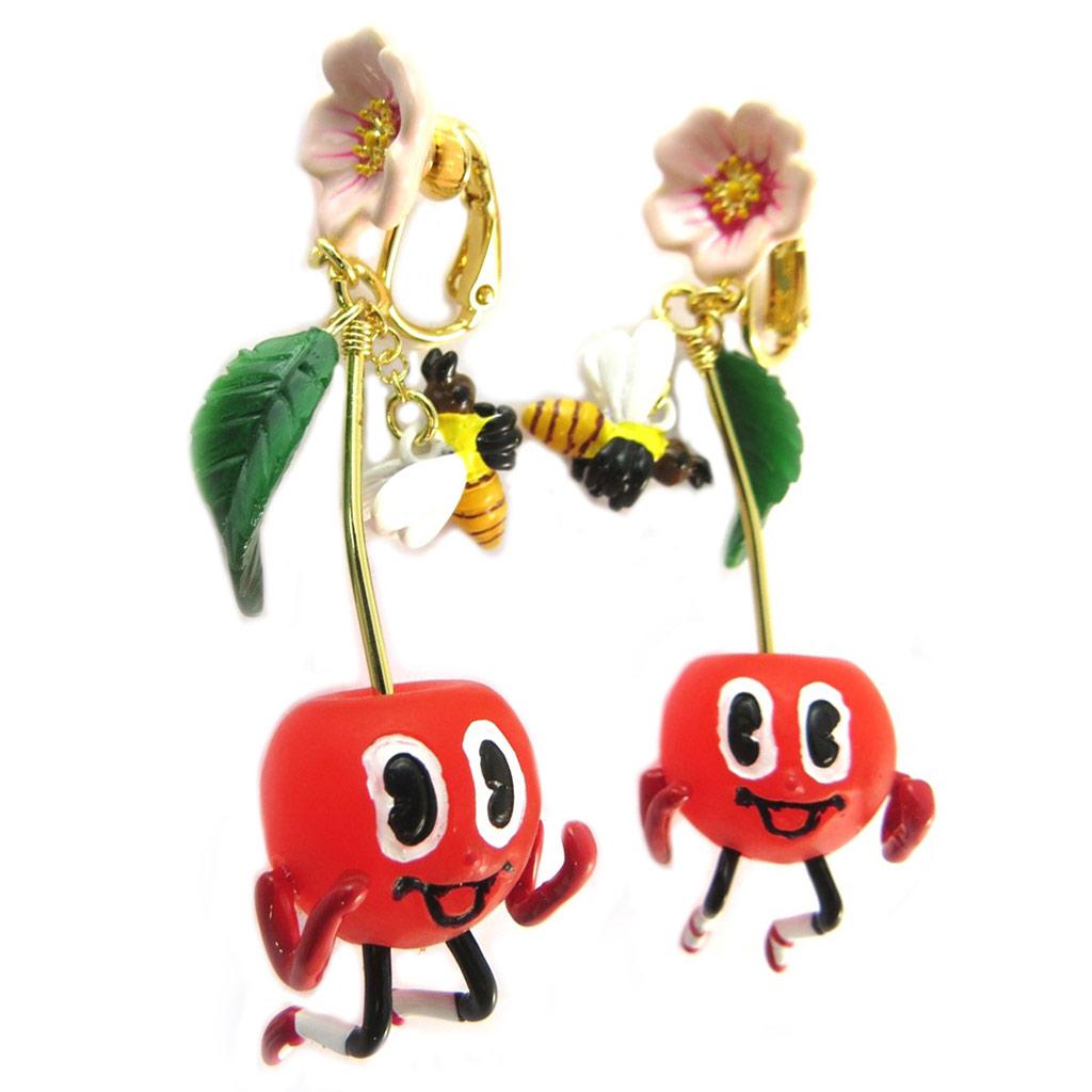 Boucles d\'oreilles clips artisanales \'Monde Merveilleux\' (Potager du Bonheur) rouge doré - 75x20 mm - [P2047]
