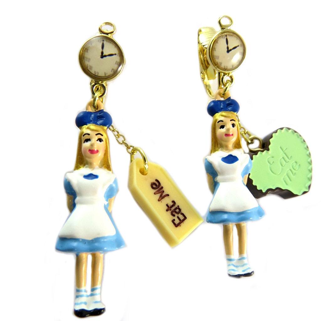 Boucles d\'oreilles clips artisanales \'Monde Merveilleux\' (Alice) bleu blanc doré - 55x10 mm - [P2049]