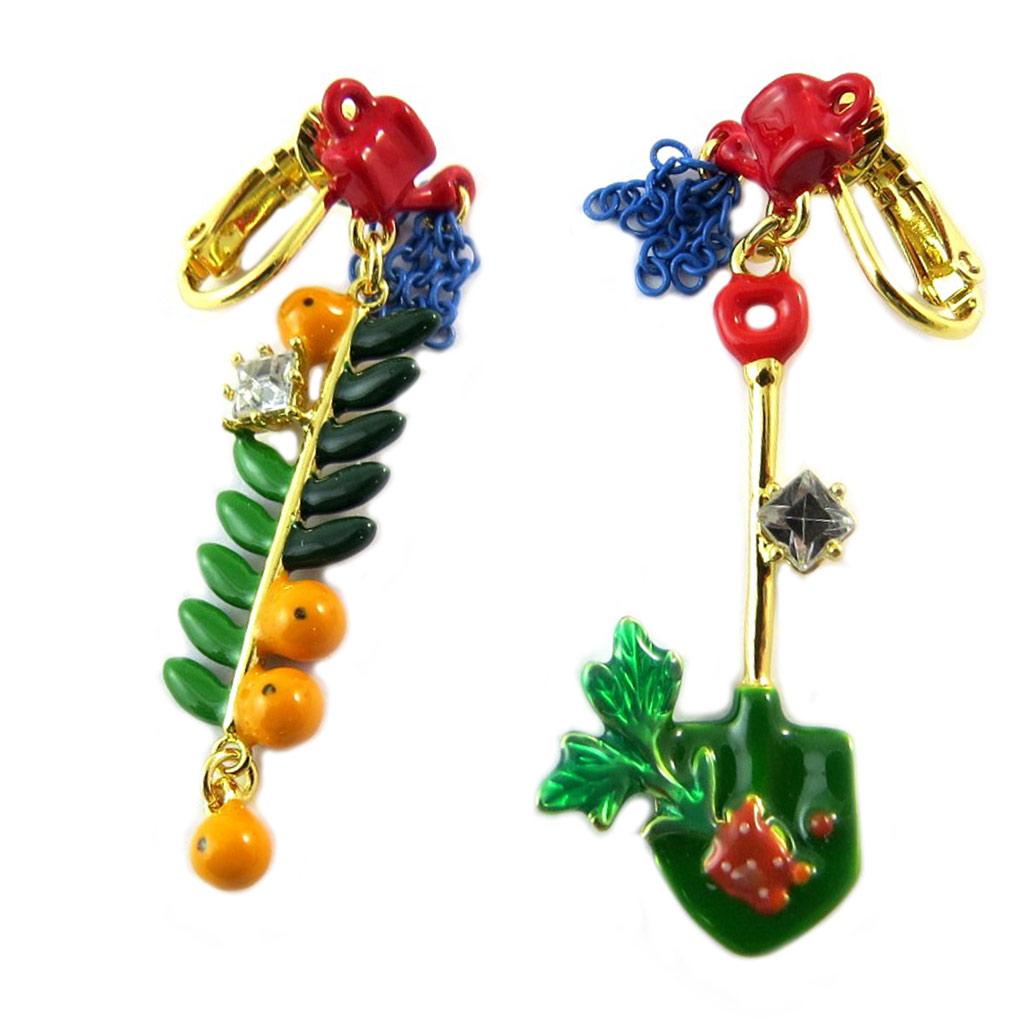 Boucles d\'oreilles clips artisanales \'Monde Merveilleux\' (Potager du Bonheur) multicolore doré - 50x15 mm - [P2050]