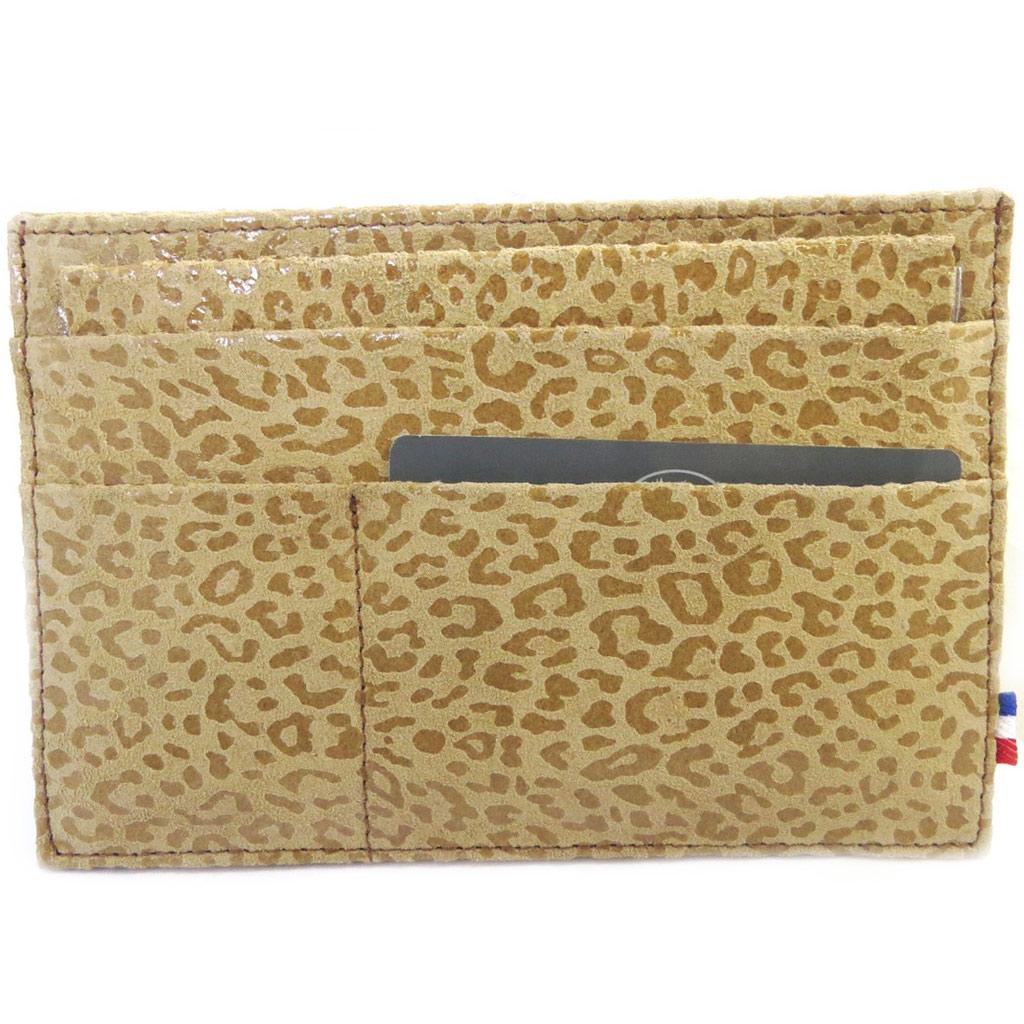 Porte Papiers de voiture Cuir \'Frandi\' camel (ultra plat) léopard - [M3624]