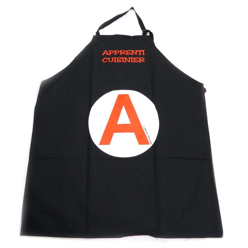 Tablier créateur \'La Cuisine Française\' apprentie cuisinière - noir - [P2055]
