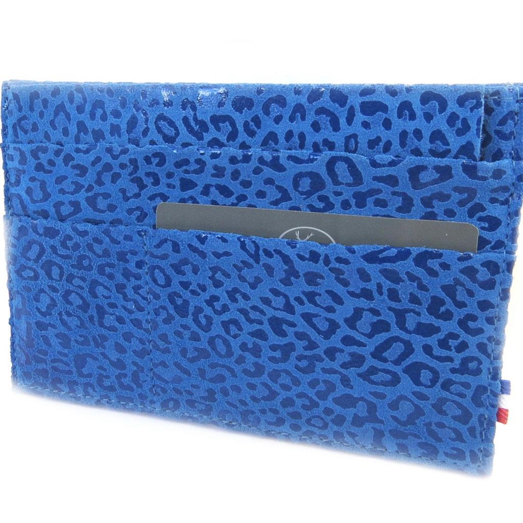 Porte Papiers de voiture Cuir \'Frandi\' bleu capri (ultra plat) léopard - [M3627]