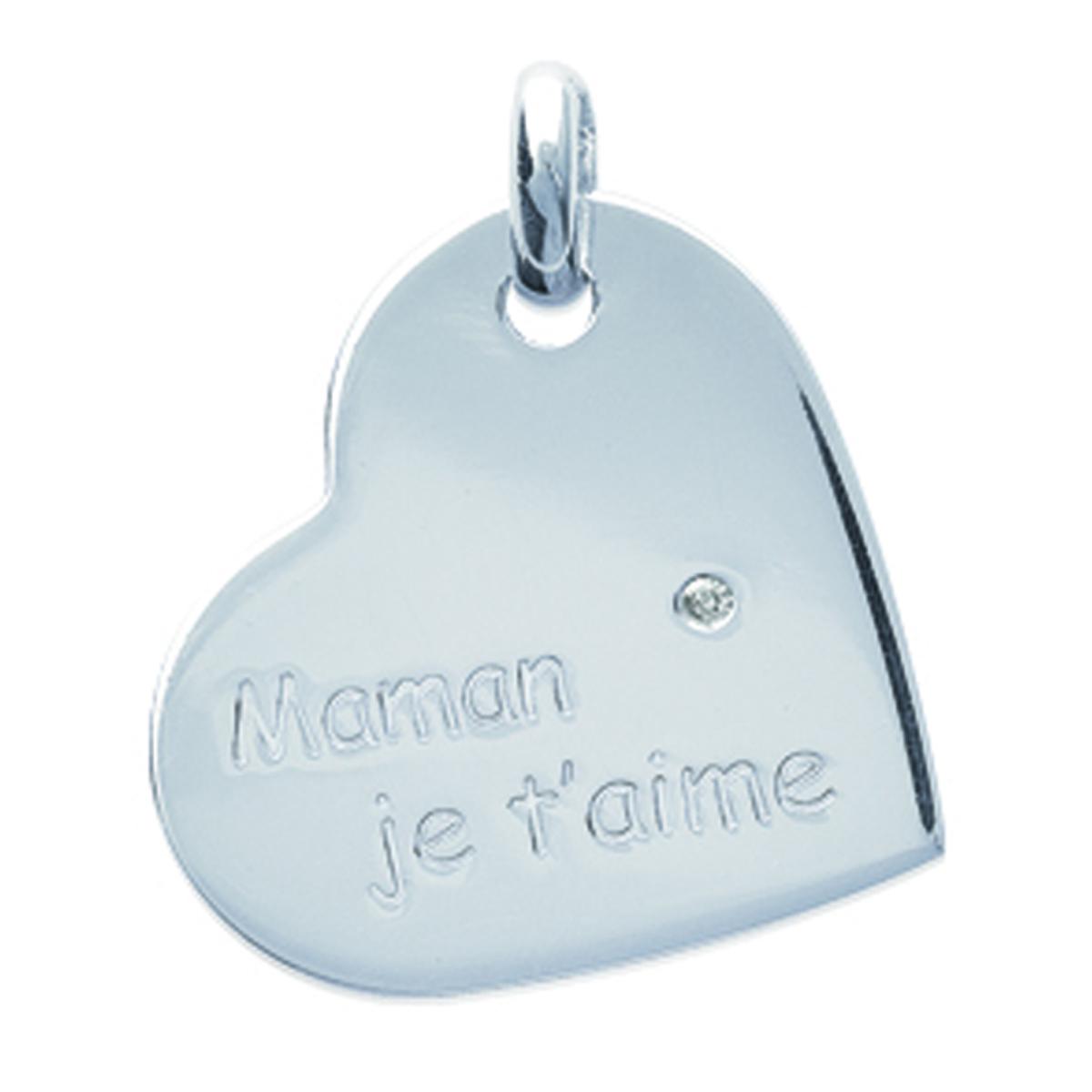 Pendentif Argent \'Maman Je T\'aime\' argenté (rhodié) - 22x17 mm - [I9073]