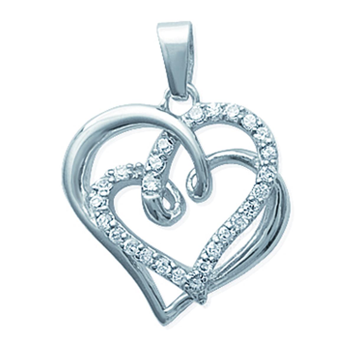 Pendentif Argent \'Love\' blanc argenté (rhodié) - 28x22 mm - [I9075]