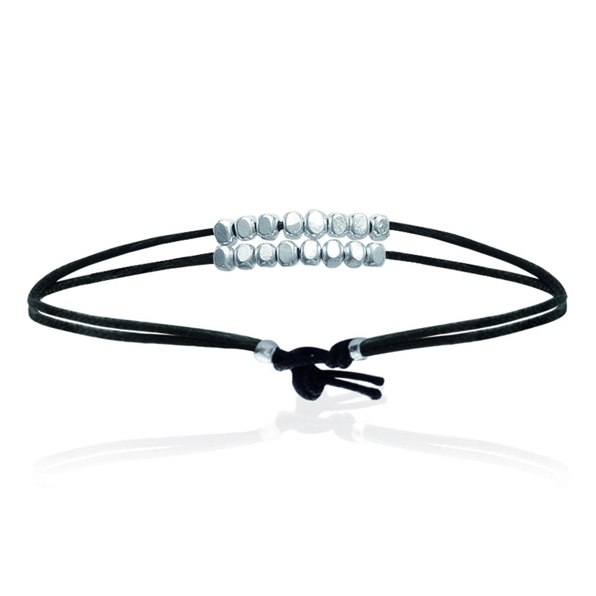 Bracelet Argent \'Chorégraphie\' noir argenté - 22x3 mm - [I9116]