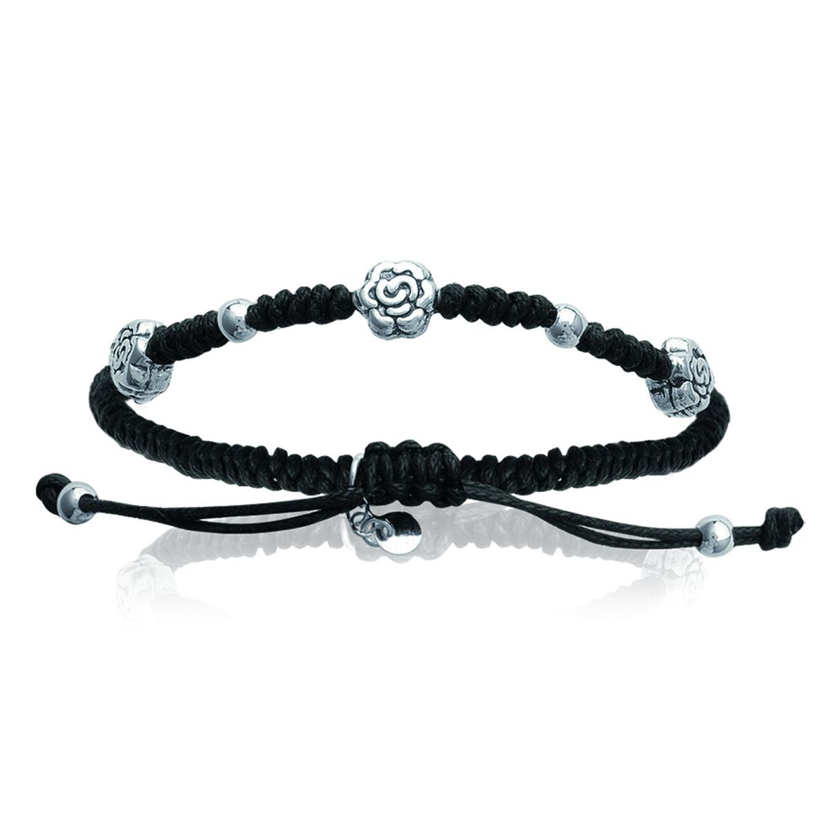 Bracelet Argent shambhala \'Flora\' noir - 7 mm - [I9118]