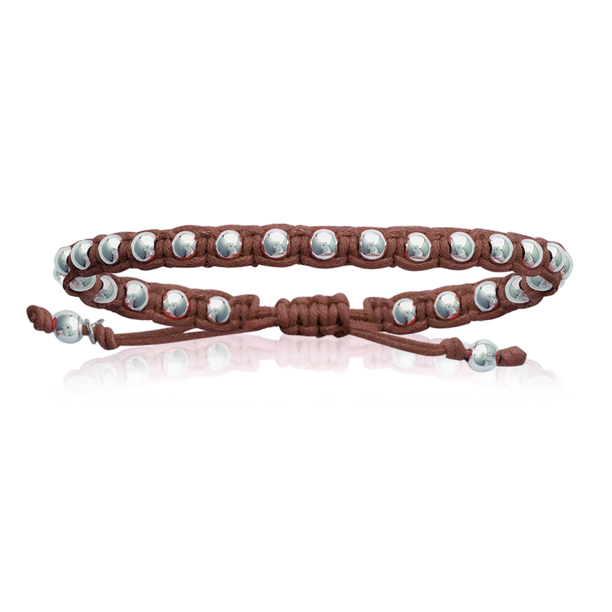Bracelet Argent shambhala \'Billes\' marron argenté (ethnique) - 4 mm - [I9122]