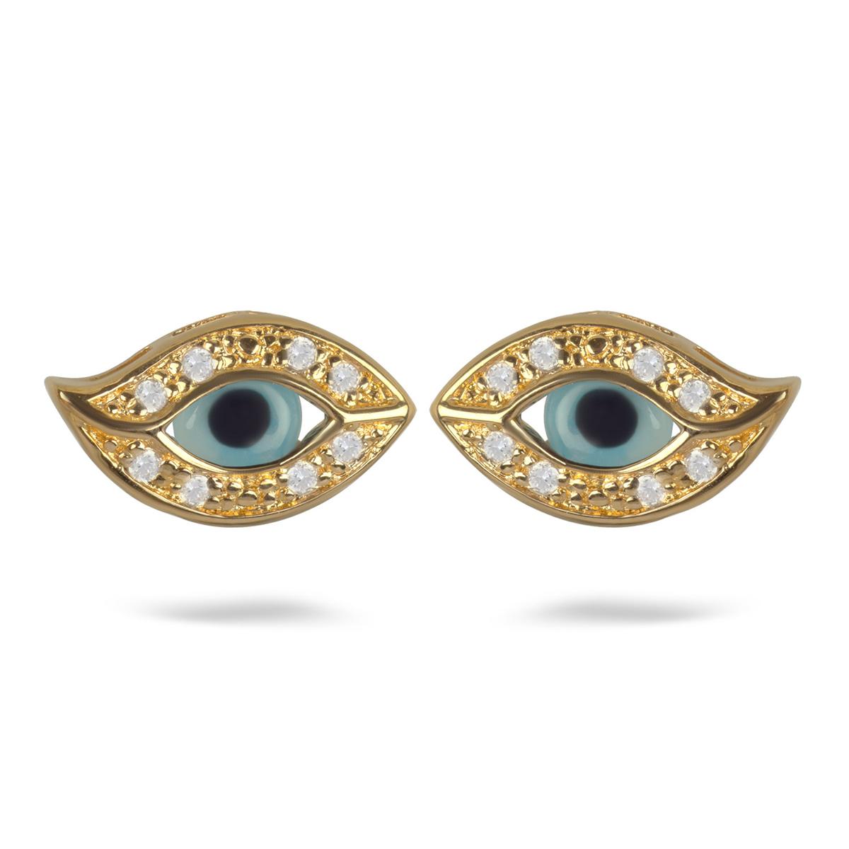 Boucles Plaqué Or \'Oeil de Fatma\' turquoise doré - 14x8 mm - [M6916]
