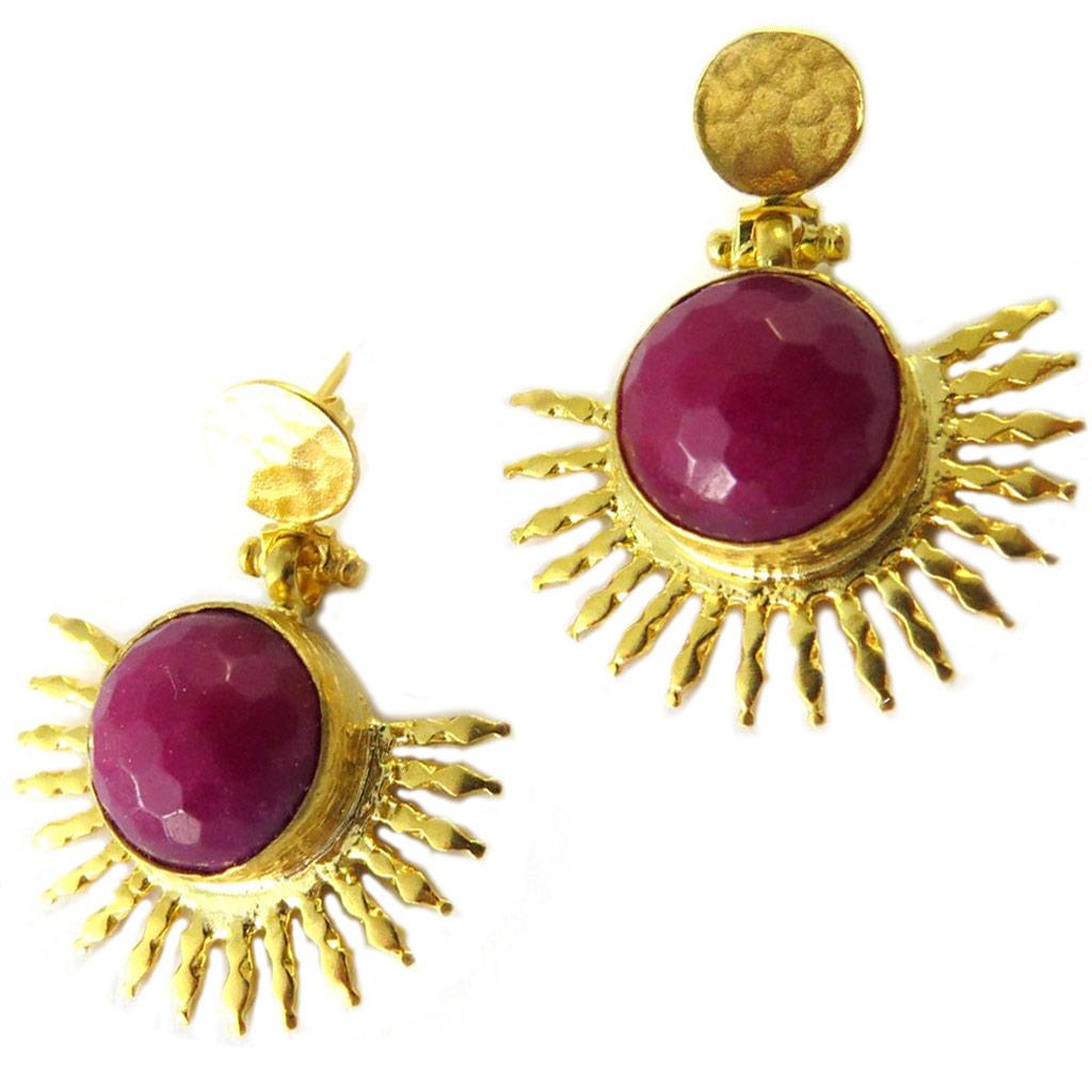 Boucles d\'oreilles artisanales plaqué or \'Princesse Ottomane\' agate cerise doré -  38x30 mm - [P2236]