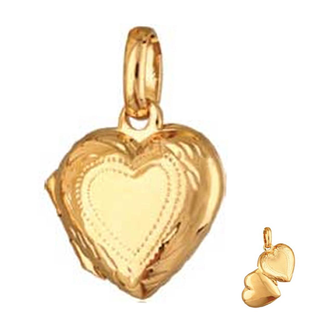 Pendentif Cassolette plaqué or \'Love Secrets\' doré - 18x13 mm - [M6924]