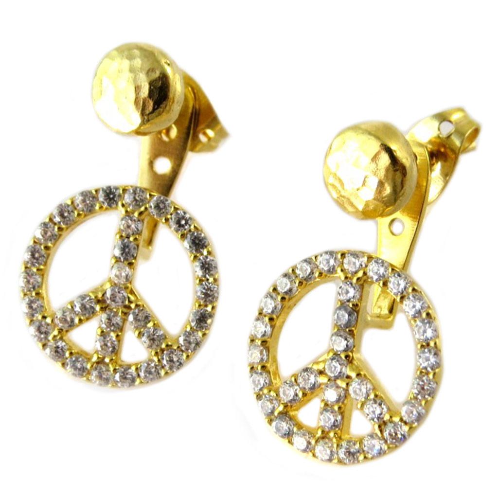Boucles d\'oreilles / contours de lobes artisanales plaqué or \'Princesse Ottomane\' blanc doré (peace) -  13 mm - [P2241]