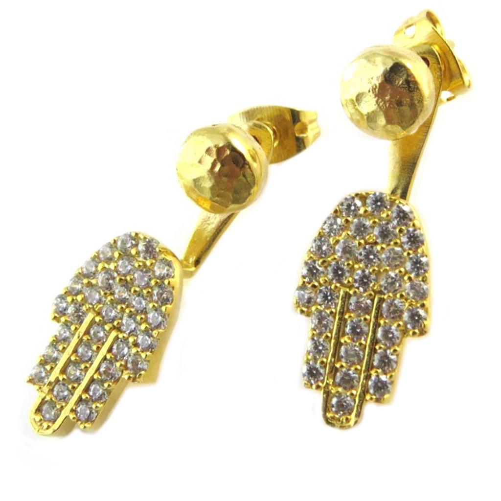 Boucles d\'oreilles / contours de lobes artisanales plaqué or \'Princesse Ottomane\' blanc doré (main de fatma) -  13 mm - [P2246]