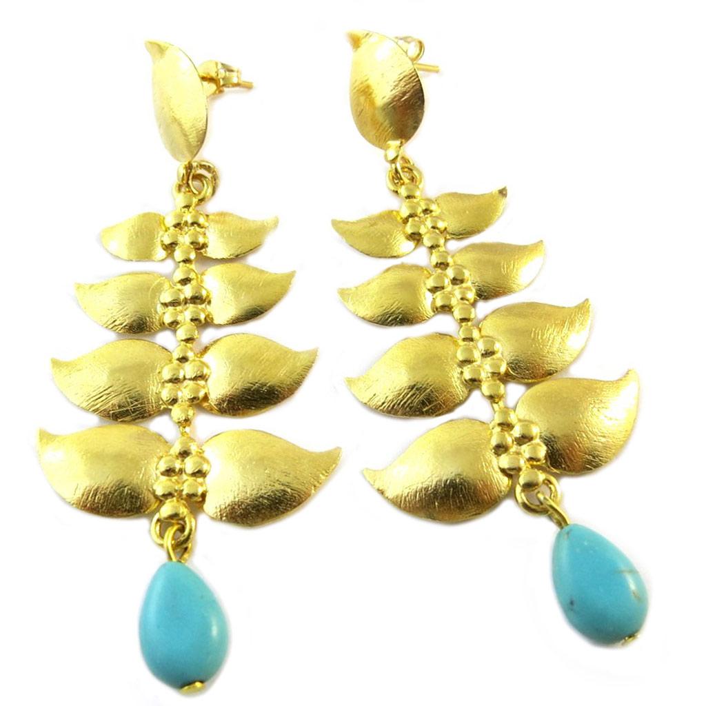Boucles d\'oreilles artisanales plaqué or \'Princesse Ottomane\' turquoise doré - 75x30 mm - [P2249]