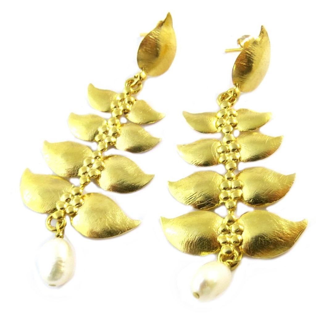 Boucles d\'oreilles artisanales plaqué or \'Princesse Ottomane\' ivoire doré - 75x30 mm - [P2250]