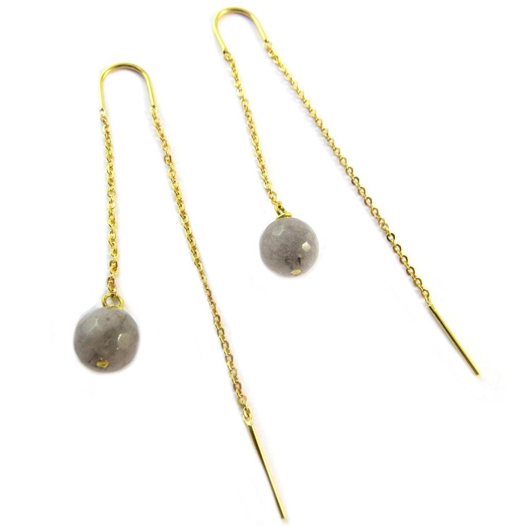 Boucles d\'oreilles artisanales plaqué or \'Princesse Ottomane\' gris doré -  38x30 mm - [P2267]