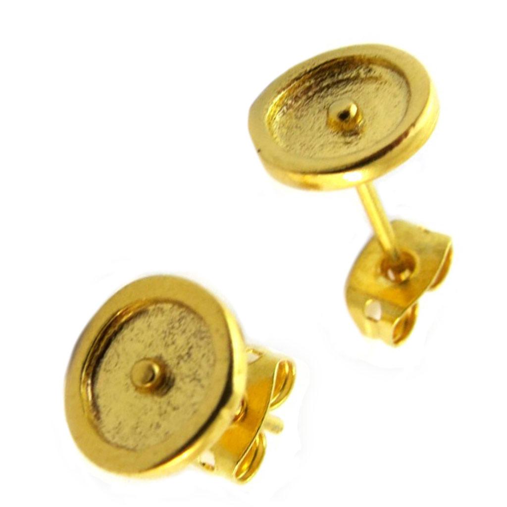 Boucles d\'oreilles artisanales plaqué or \'Princesse Ottomane\' doré -  8 mm - [P2269]