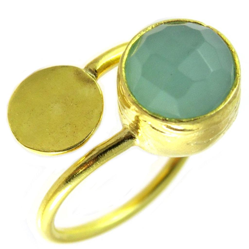 Bague artisanale plaqué or \'Princesse Ottomane\' vert doré - [P2282]