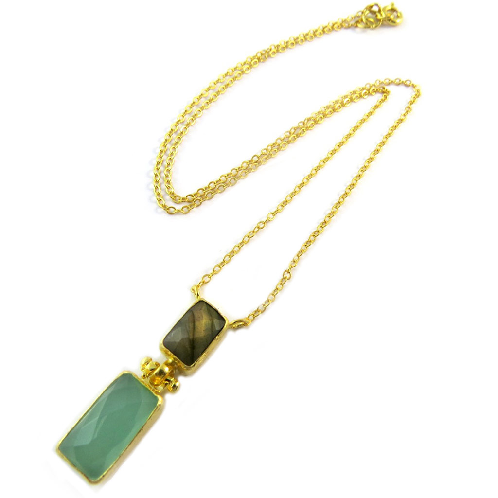 Collier artisanal plaqué or \'Princesse Ottomane\' gris vert doré - [P2294]