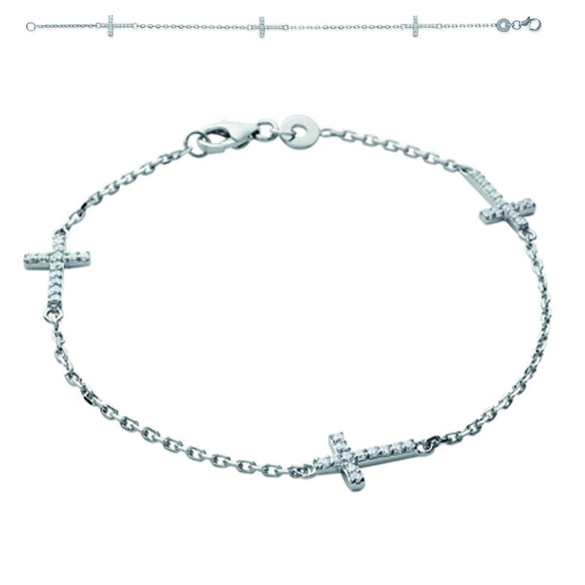 Bracelet Argent \'Croix\' blanc argenté (rhodié) - 12x8 mm - [I9800]