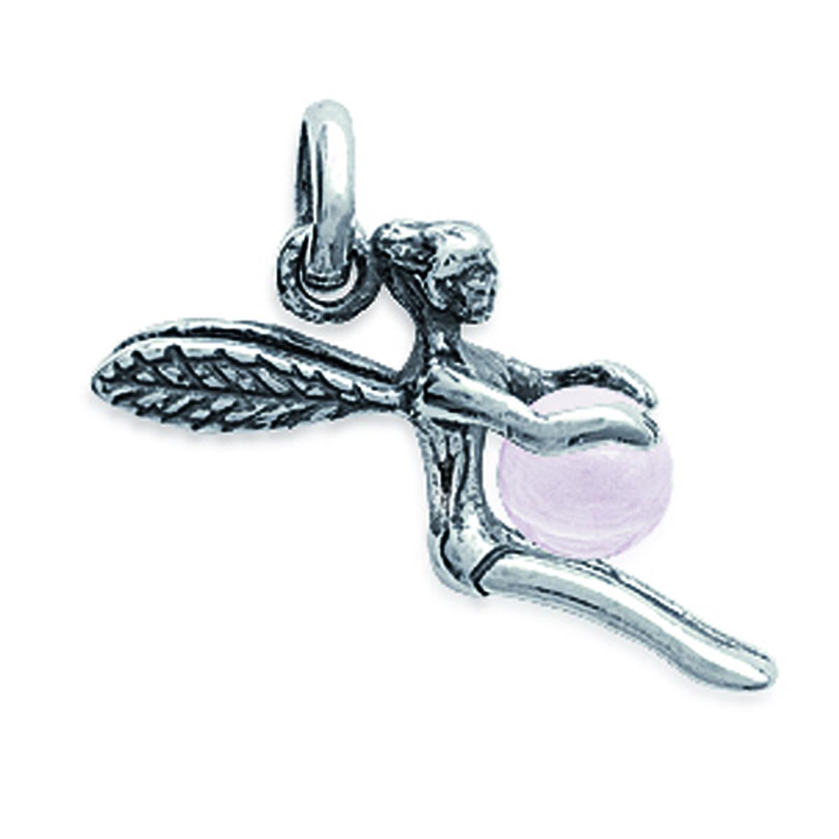 Pendentif Argent \'Fée Clochette\' quartz rose argenté - 15x20 mm - [I9909]