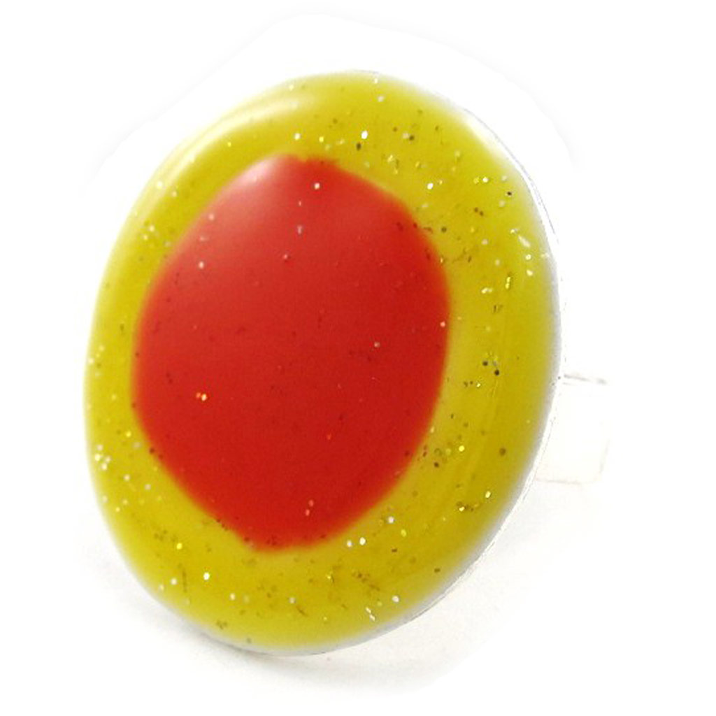 Bague Créateur \'Bora Bora\' orange jaune - [I9968]