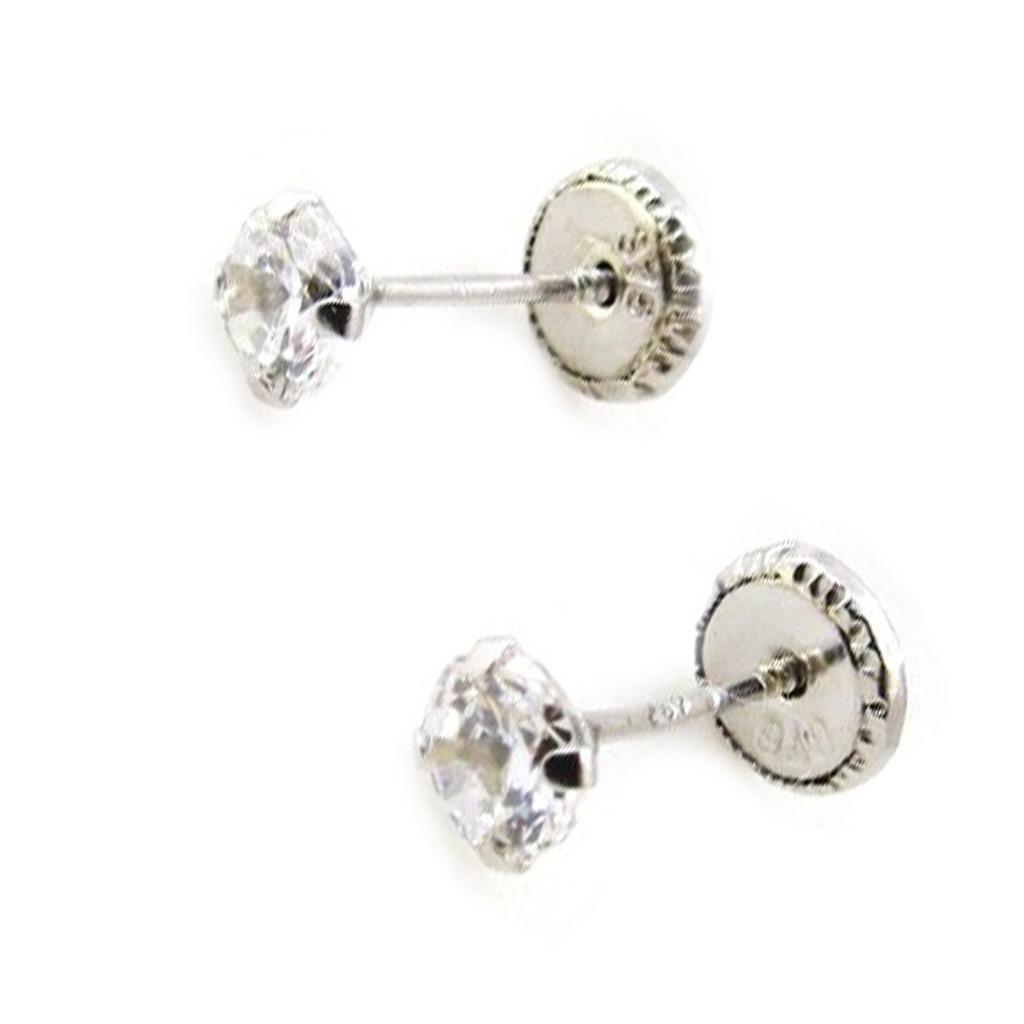 Boucles d\'Oreilles \'Essentiel\' rhodiées 4 mm (Or - 9 carats) - [I9986]