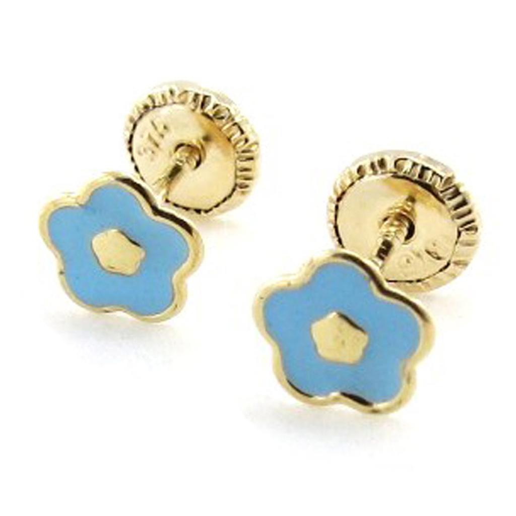 Boucles d\'Oreilles \'Flora\' bleu (Or - 9 carats) - [I9994]