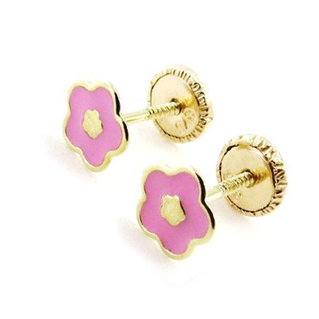 Boucles d\'Oreilles \'Flora\' rose (Or - 9 carats) - [I9995]