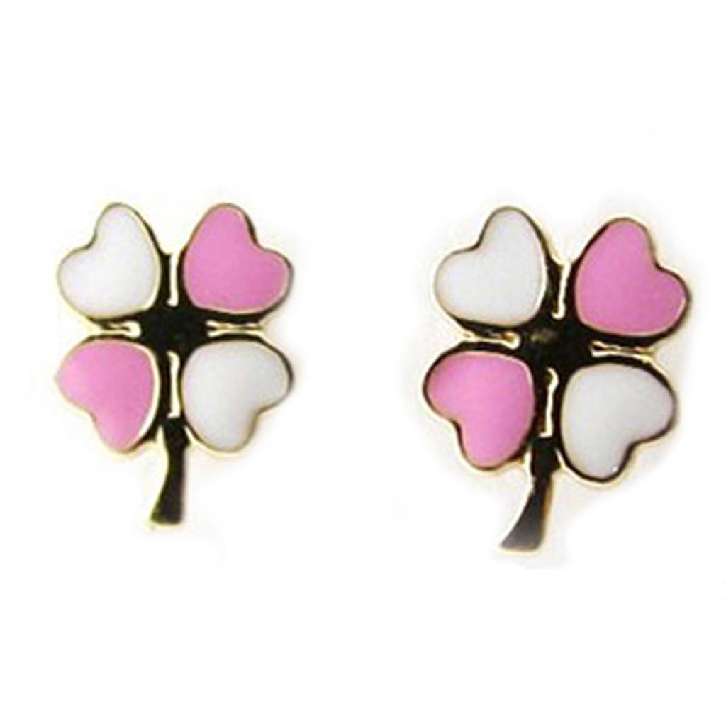 Boucles d\'Oreilles \'Trèfle\' rose (Or - 9 carats) - [I9997]