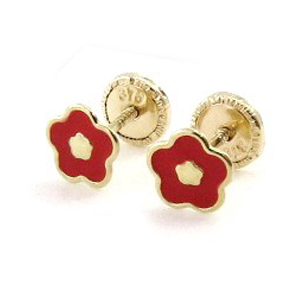 Boucles d\'Oreilles \'Flora\' rouge (Or - 9 carats) - [I9998]