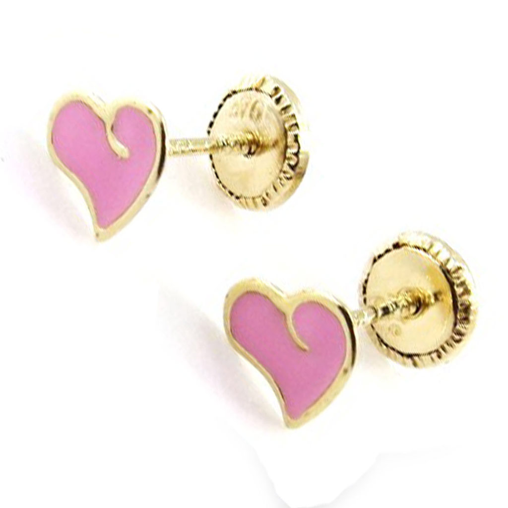 Boucles d\'Oreilles \'Love\' rose (Or - 9 carats) - [J0413]