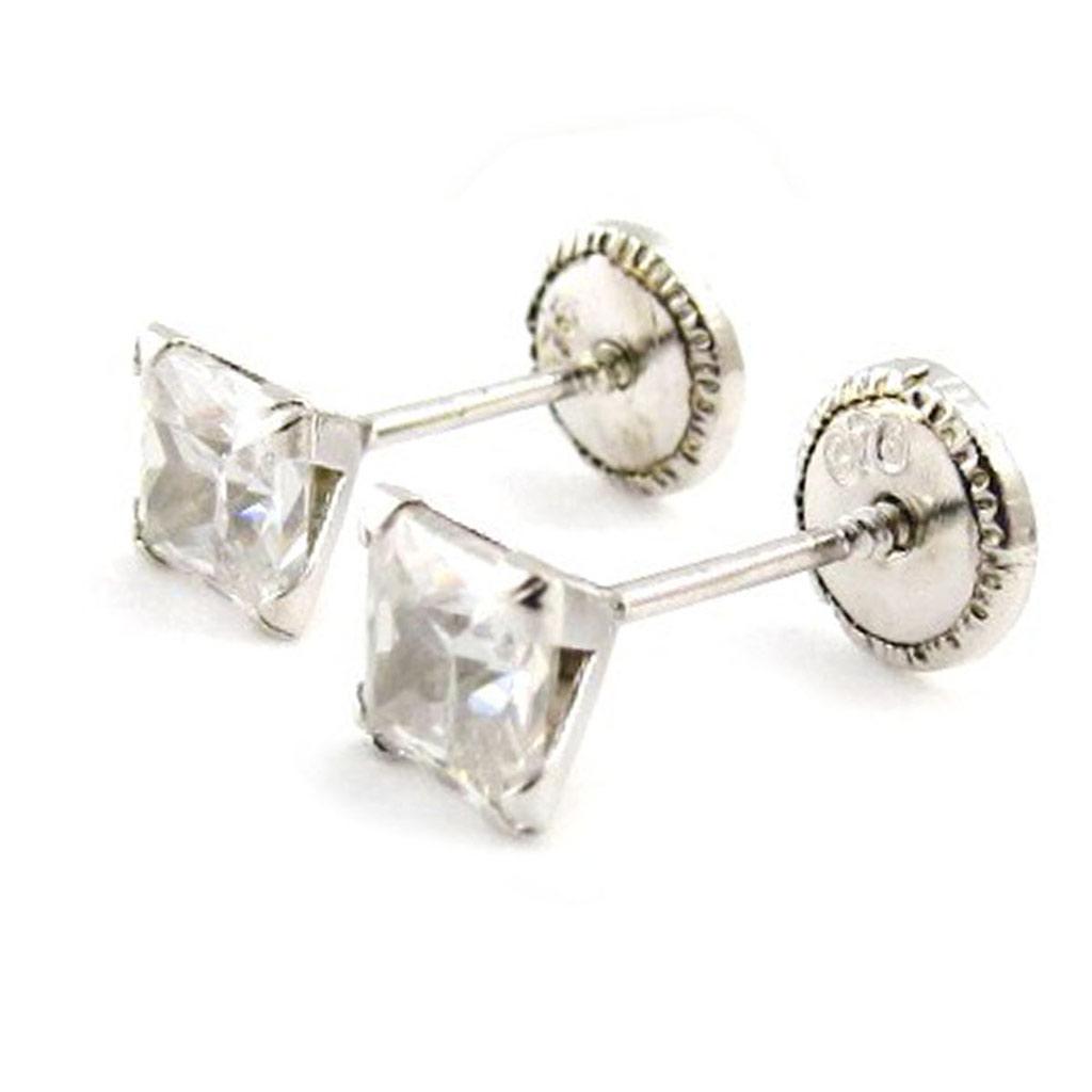 Boucles d\'Oreilles \'Essentiel\' rhodiées 4 mm (Or - 9 carats) - [J0426]