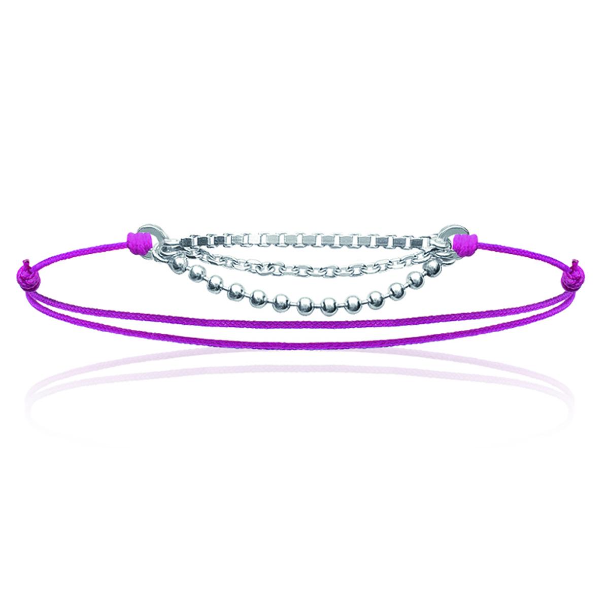 Bracelet Argent \'Billes\' rose argenté - 3 rangs - [J0814]
