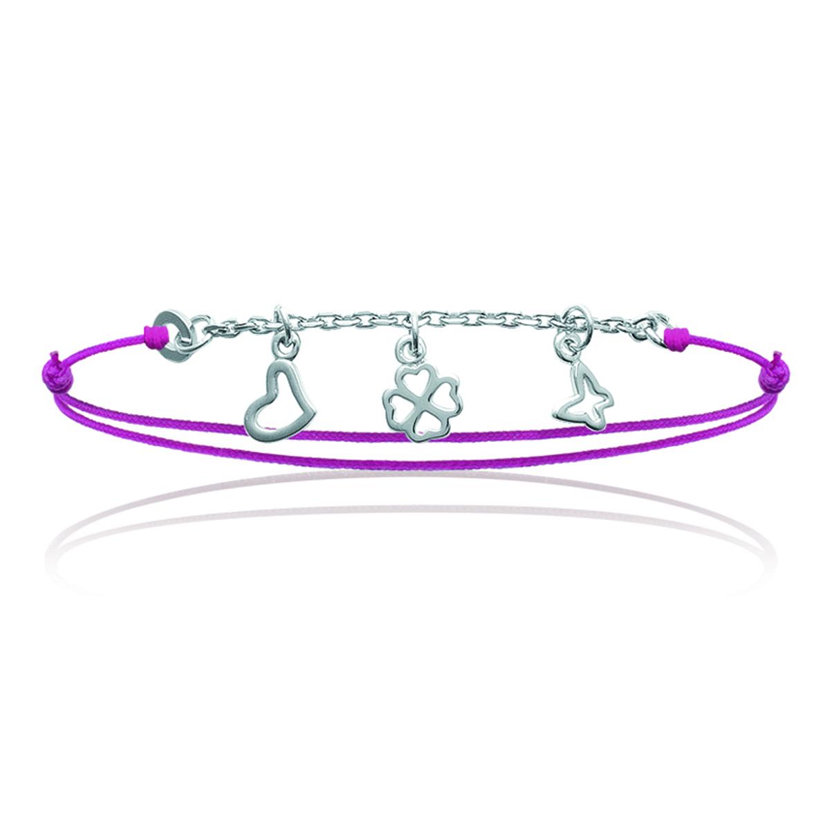 Bracelet Argent \'Bonheur\' rose argenté - 35x10 mm - [J0818]