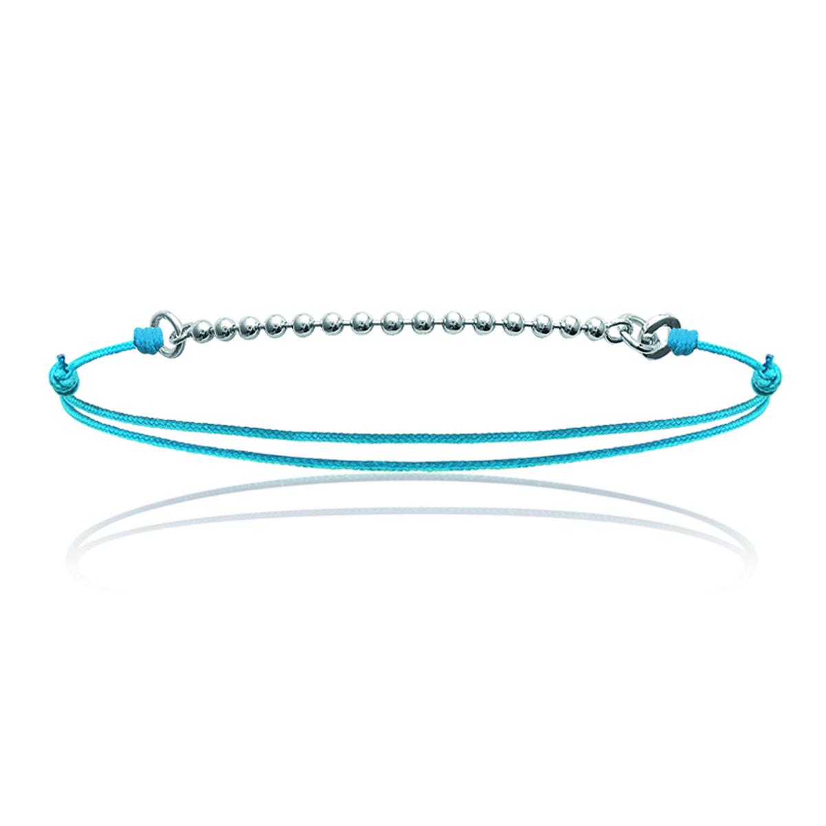 Bracelet Argent \'Billes\' turquoise argenté - 15 mm - [J0820]