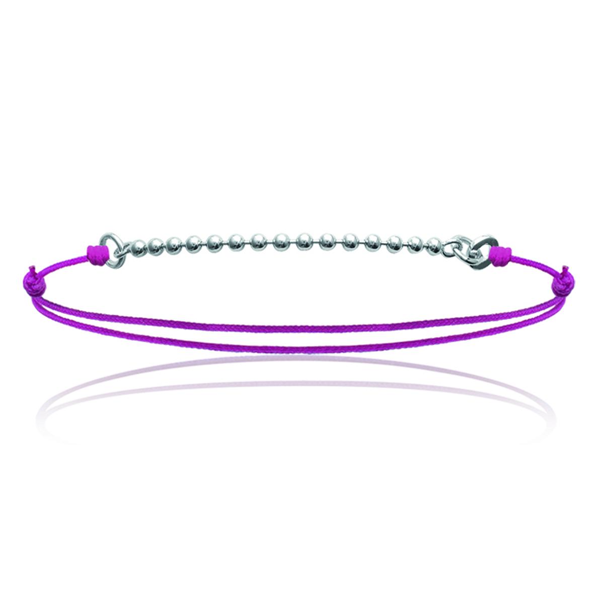 Bracelet Argent \'Billes\' rose argenté - 15 mm - [J0822]