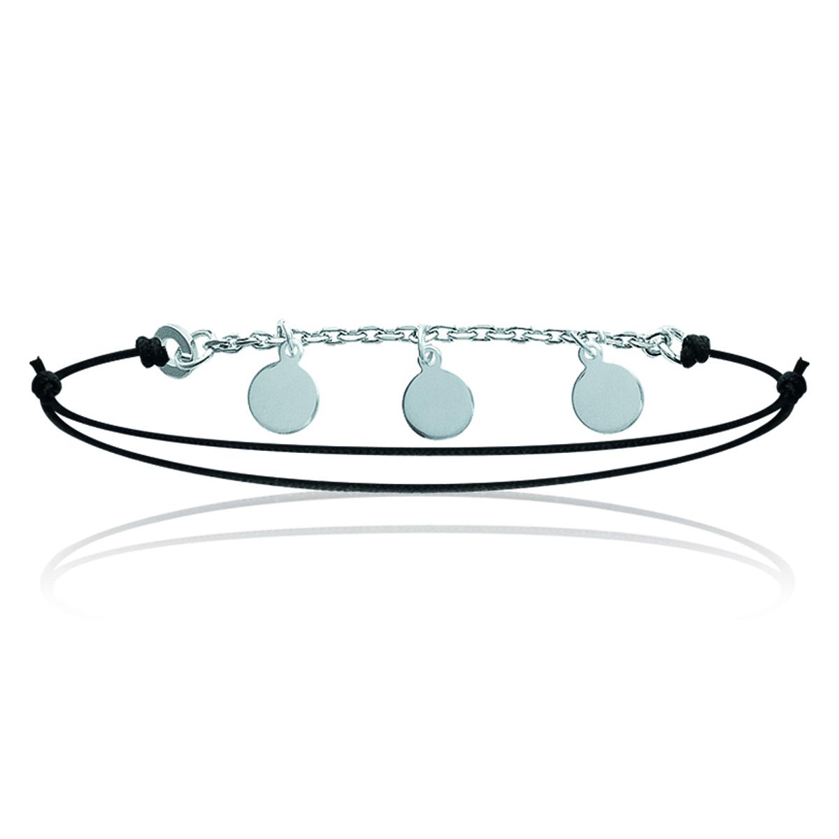 Bracelet Argent \'Chorégraphie\' noir argenté - 8 mm - [J0824]