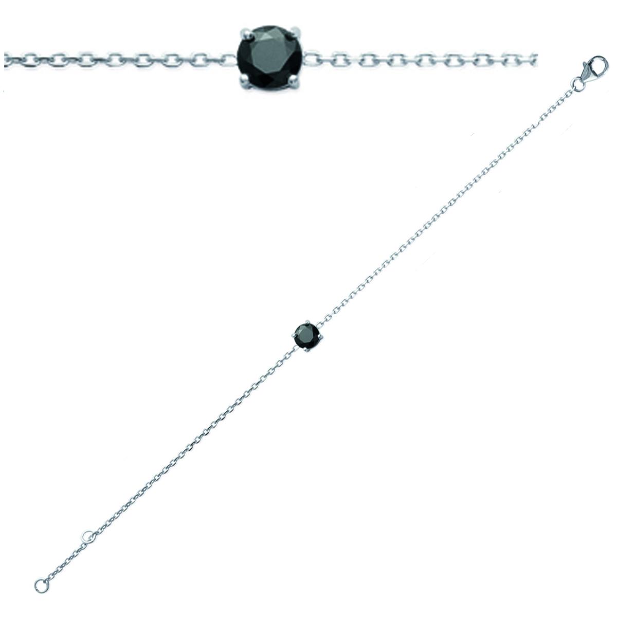 Bracelet Argent \'Essentiel\' noir argenté (rhodié) - 6 mm - [J0834]