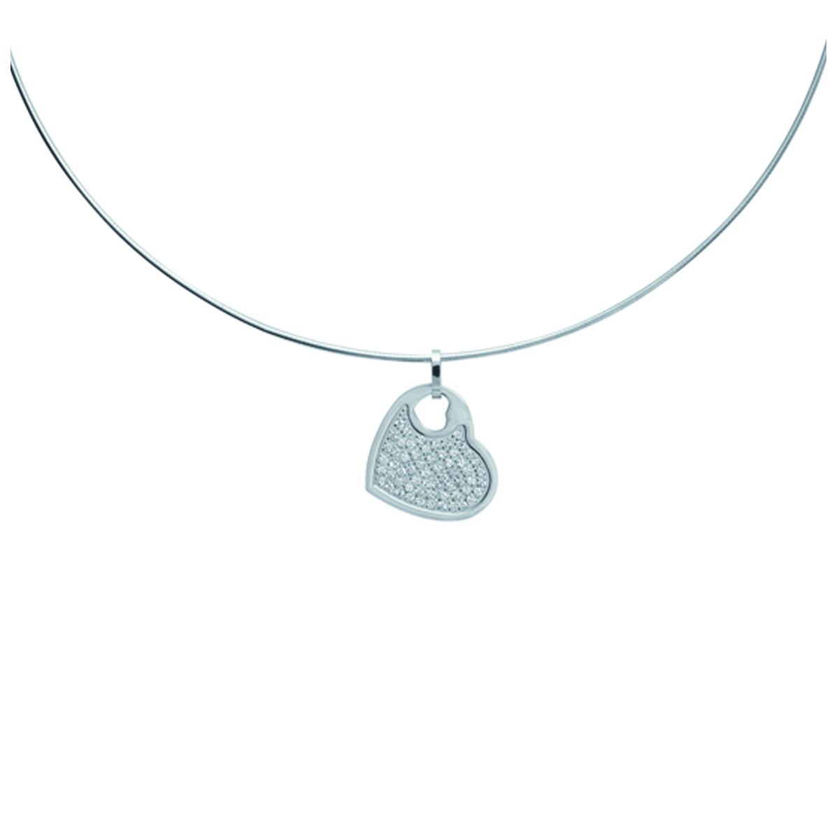 Collier acier \'Love\' blanc argenté - 22x23 mm - [J0982]