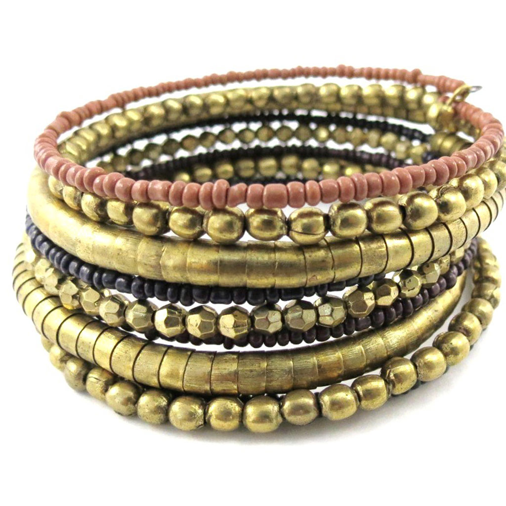 Bracelet Créateur \'Altaï\' doré vieilli - [J1124]