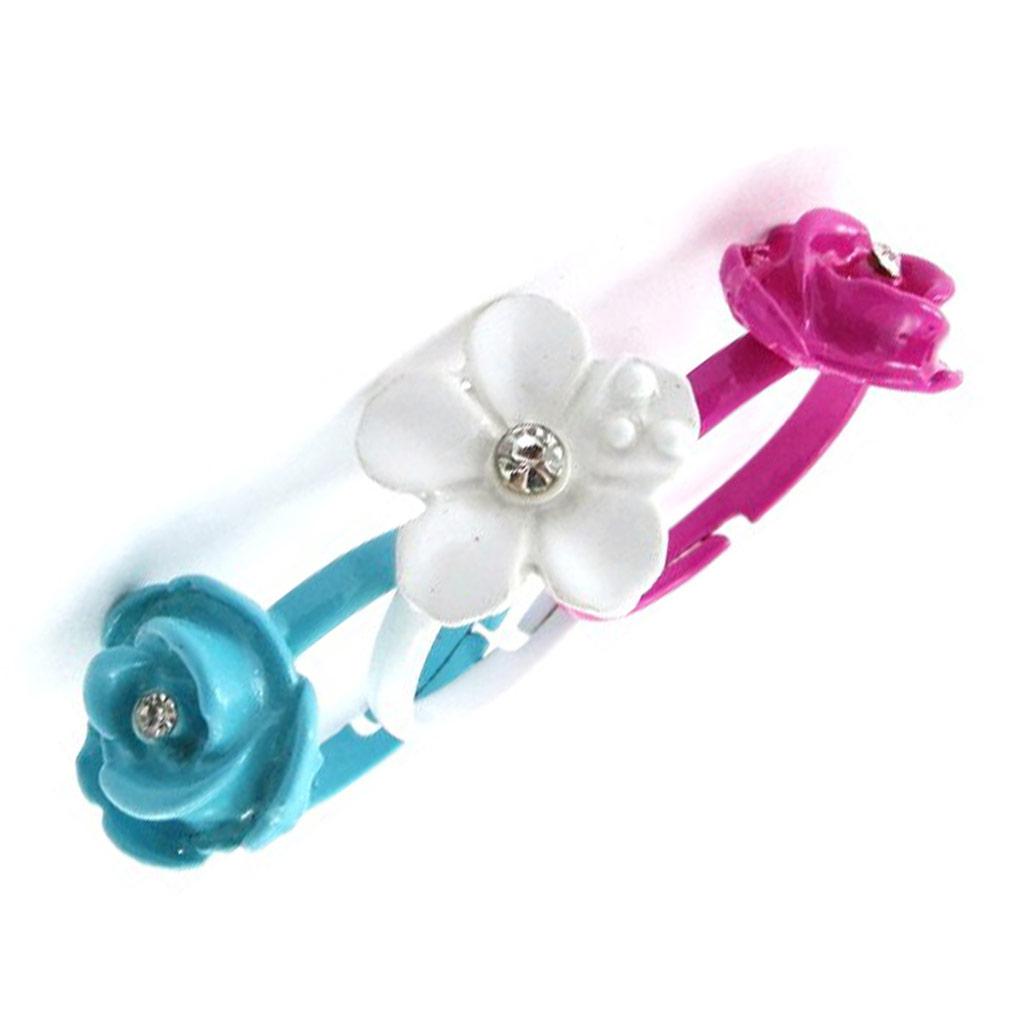 3 bagues enfant \'Flora\' multicolore - [J1126]