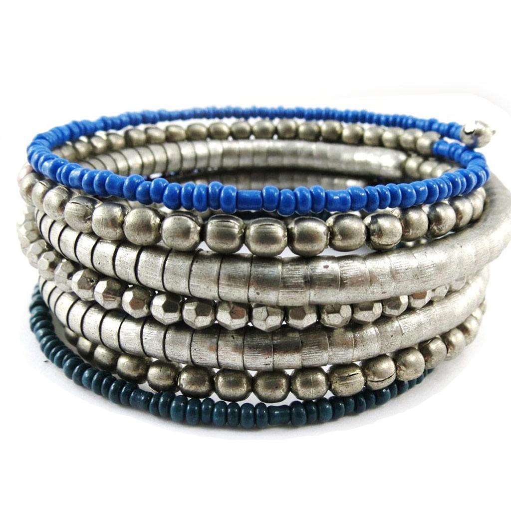 Bracelet Créateur \'Altaï\' bleu argenté vieilli - [J1153]