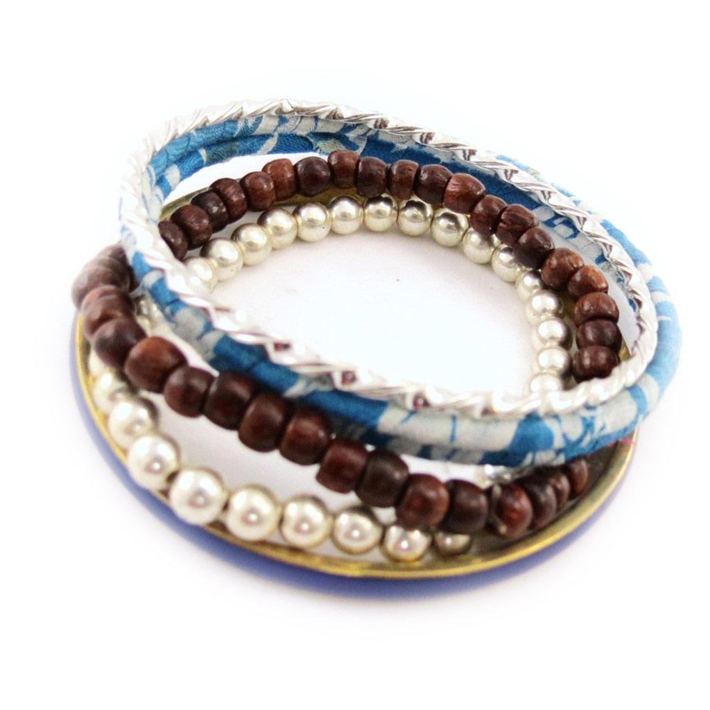 Bracelet créateur \'Liberty\' bleu marron - [J1207]