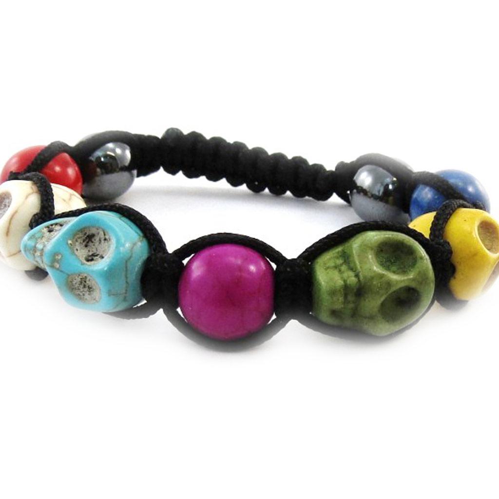 Bracelet créateur shambhala \'Tête de Mort\' multicolore  - [J1318]