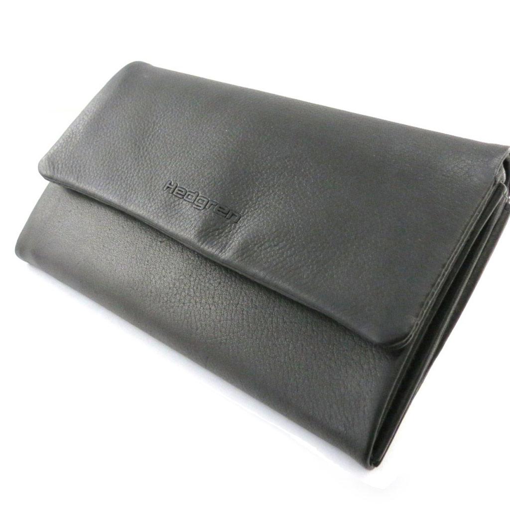Grand porte-monnaie cuir \'Hedgren\' noir - [J1491]