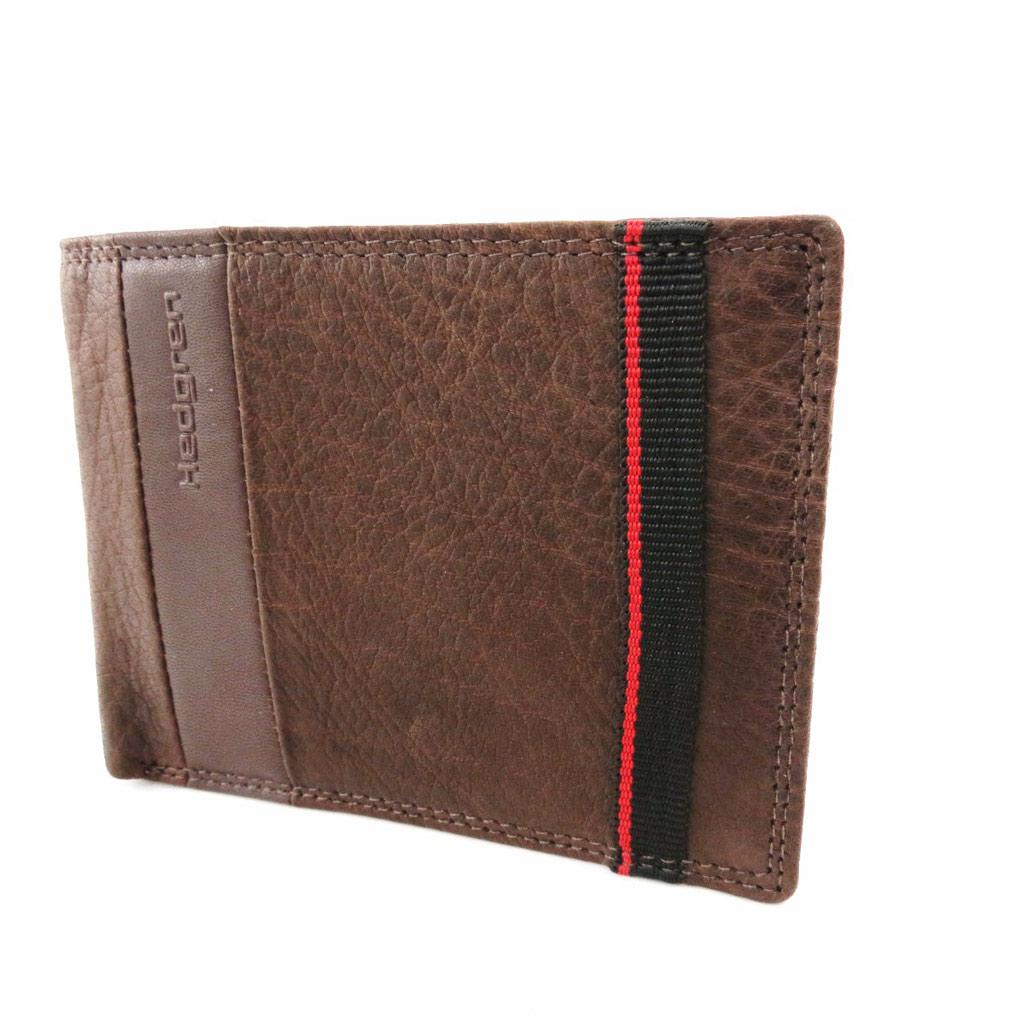 Portefeuille italien cuir \'Hedgren\' marron grainé - [J1538]