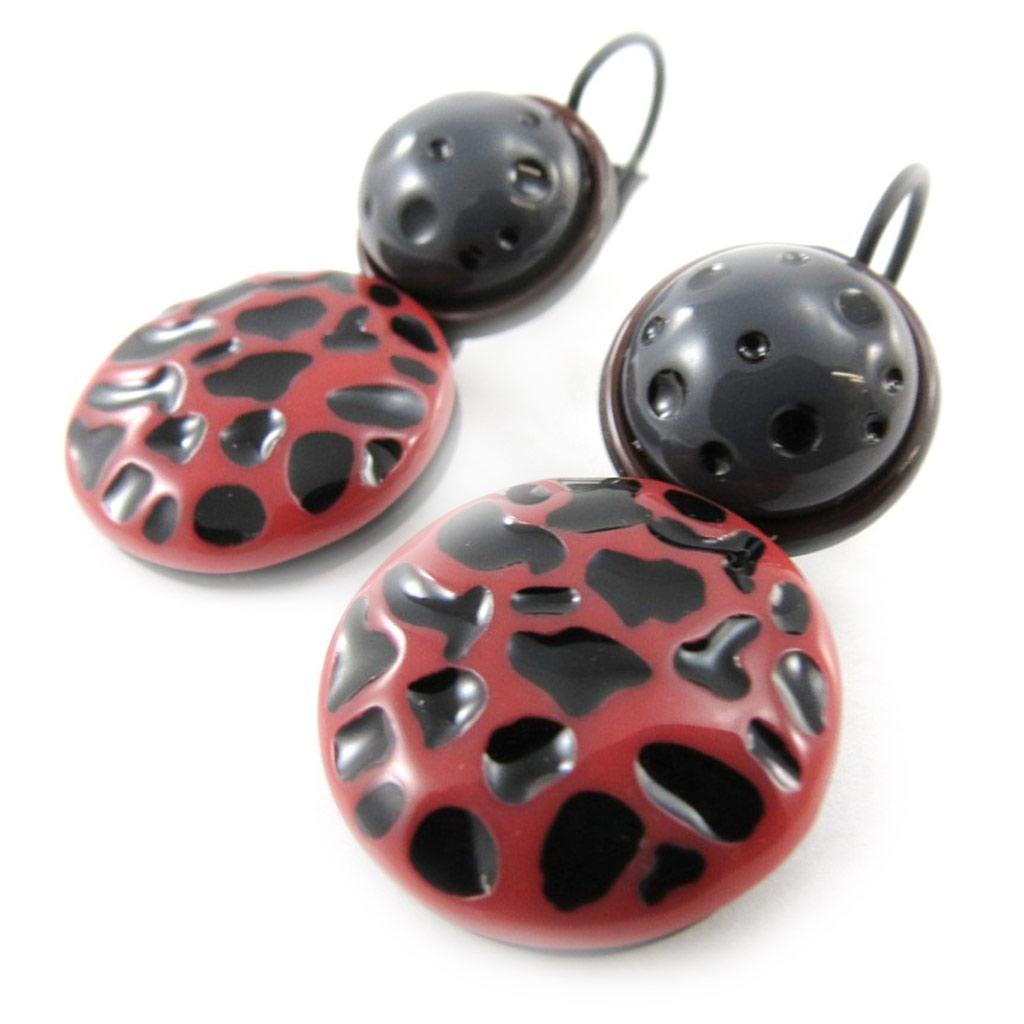 Boucles Créateur \'Safari\' rouge noir - [J1760]