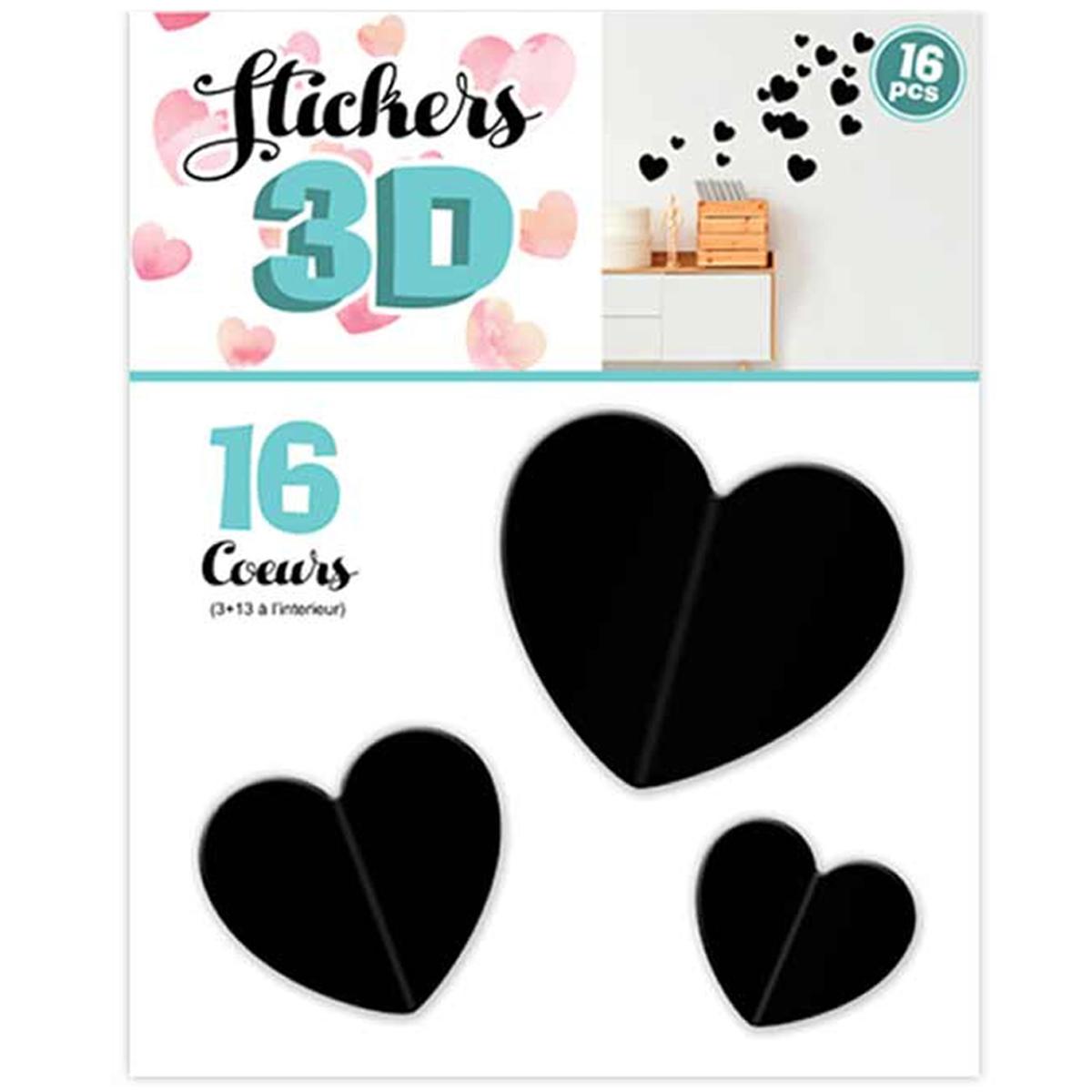 16 stickers 3D \'Love\' noir (coeurs) - planche 30x22 cm - [Q8037]
