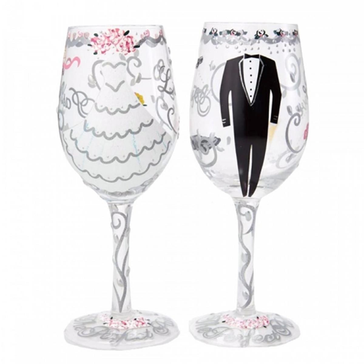 Verre à vin créateur \'Mariage - Bride and Groom\' blanc argenté noir - 23 cm - [N5691]